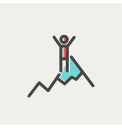 Skiing in ice mountain thin line icon vector image vector image