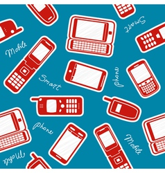Smartphones and mobile phones on a blue background vector image vector image