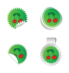 sticker green color with red cherry vector image
