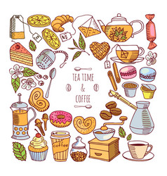 tea-drinking and coffee-making vector image