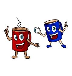 Two happy cartoon mugs of coffee vector image