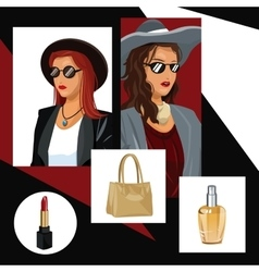 women fashionable makeup purse and perfume with vector image