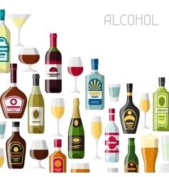 Alcohol drinks background design Bottles glasses vector image