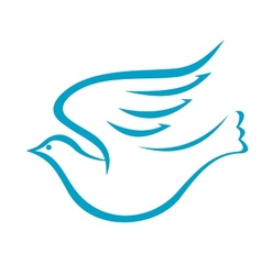 Flying dove or bird of peace vector image