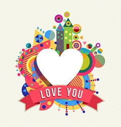 Heart shape icon love concept label with color vector image vector image