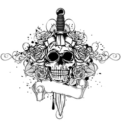 skull dagger rose vector image vector image
