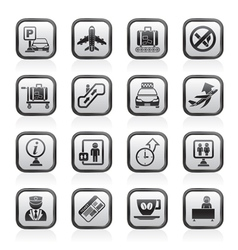 Airport and transportation icons vector image vector image