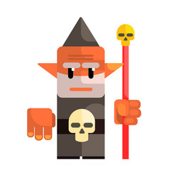 cartoon dwarf holding a staff with a skull fairy vector image