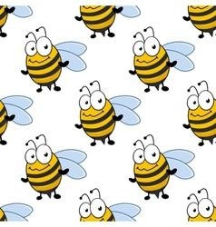 Cartoon smiling bee seamless pattern vector image
