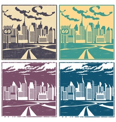 city and highway old posters vector image