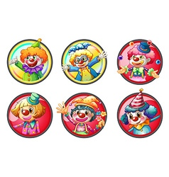 Clown characters on round badges vector image vector image