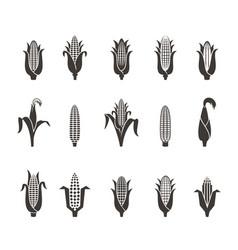 corn icon black and white vector image
