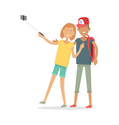 happy boy and girl in casual clothes making selfie vector image