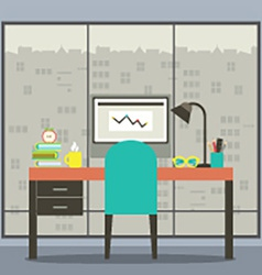Modern Flat Design Workplace With Skyscraper View vector image