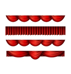 Pelmet red curtains set vector image vector image