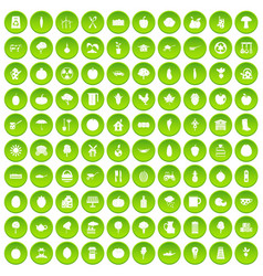 100 health food icons set green circle vector