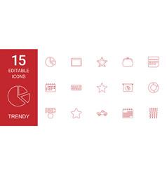 15 trendy icons vector image