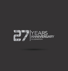 27 years anniversary logotype with silver color vector