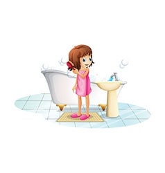 A young girl combing her hair after taking bath vector