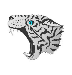Angry snow leopard portrait tiger predator vector