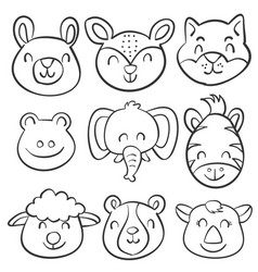Animal head hand draw doodles vector