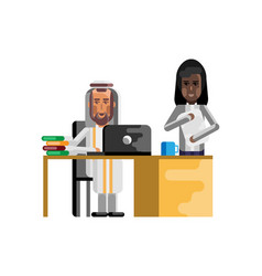 arabic businessman working in office vector image