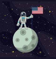 Astronaut in the moon nailing usa flag vector