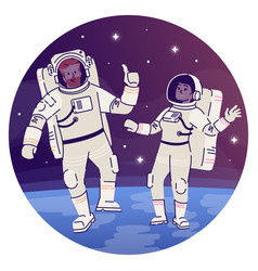 Astronauts in outer space flat concept icon vector