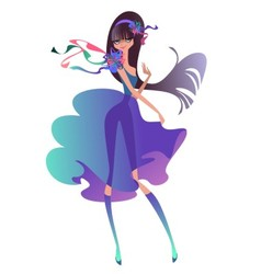 Beautiful brunette with a ribbons vector image
