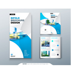 bi fold brochure or flyer design with circle vector image