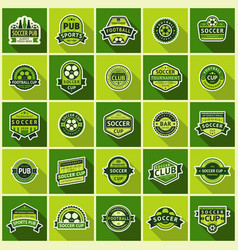 big football set green badges vector image