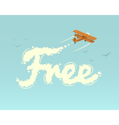 Biplane with word Free vector image