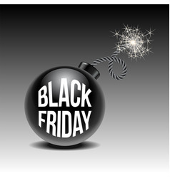 black friday sale background with cartoon bomb vector image