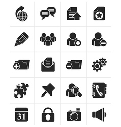 Black Internet blogging icons vector image