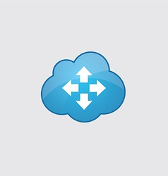 Blue cloud move icon vector