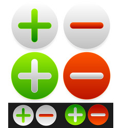 Bright icons with plus minus signs vector