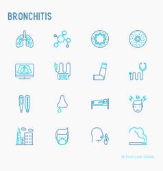 Bronchitis thin line icons set vector