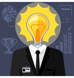 Bulb headed man Business man in suit vector