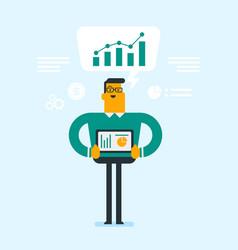 businessman presenting report on digital tablet vector image