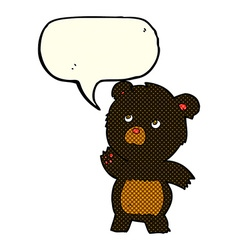 Cartoon curious black bear with speech bubble vector