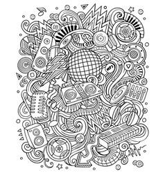 cartoon doodles disco music contour vector image