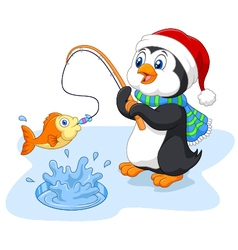 Cartoon funny penguin fishing vector image