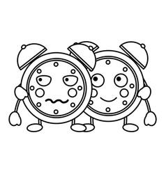 cartoon kawaii two clock alarm time vector image