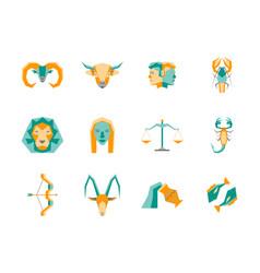 cartoon zodiac symbol color icons set vector image
