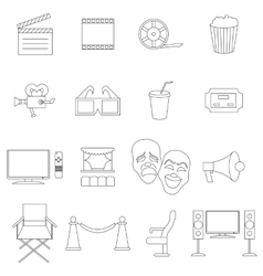 Cinema icons set thin line style vector image