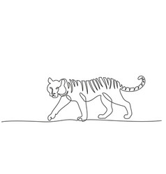 continuous one line drawing tiger walking symbol vector image