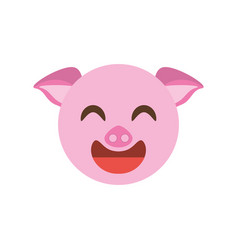 cute face piggy animal cheerful vector image vector image