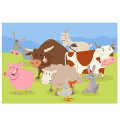 cute farm animal characters vector image