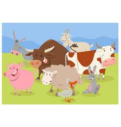 Cute farm animal characters vector