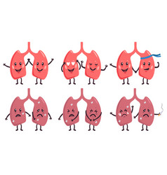 Cute lungs characters healthy and unhealthy vector